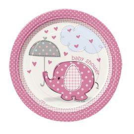 8 Platos Baby Shower Elefante Niña 18 cm