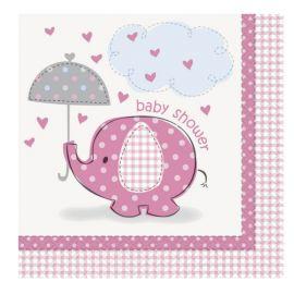 16 Servilletas Baby Shower Elefante Niña 33 cm
