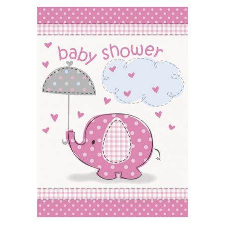 8 Invitaciones Baby Shower Elefante Niña
