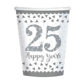 8 Vasos Bodas de Plata 266 ml