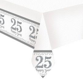 Mantel Bodas de Plata de Plástico 1,2 m x 1,8 m