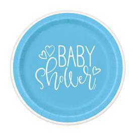 8 Platos Baby Shower Niño 18 cm