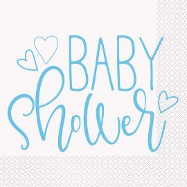 16 Servilletas Baby Shower Niño 33 cm