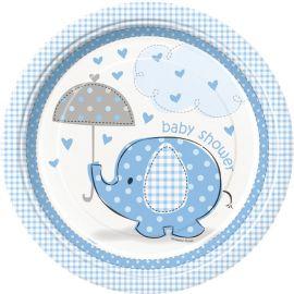 8 Platos Baby Shower Elefante Niño 23 cm