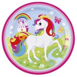 8 Platos Unicornio 23 cm