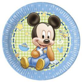 8 Platos Baby Mickey 23 cm
