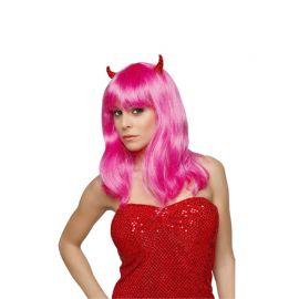 Peluca Diablesa Pink con Cuernos