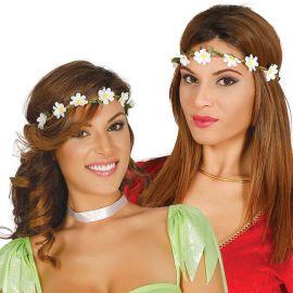 Corona de Flores Blancas con Hojas