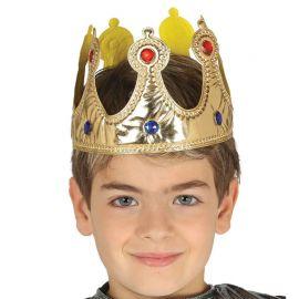 Corona Dorada para Rey Infantil de Tela