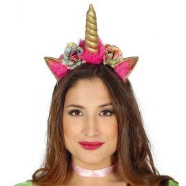 Diadema de Unicornio Dorada con Flores