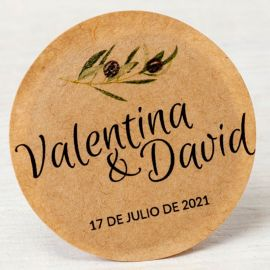 120 Etiquetas Adhesiva Kraft Rama de Olivo