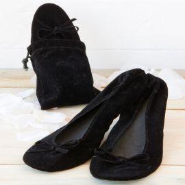 2 Pares Bailarinas Terciopelo Negra