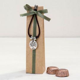 Pulsera con Medalla Árbol/Life is a Gift con 2 Chocolates