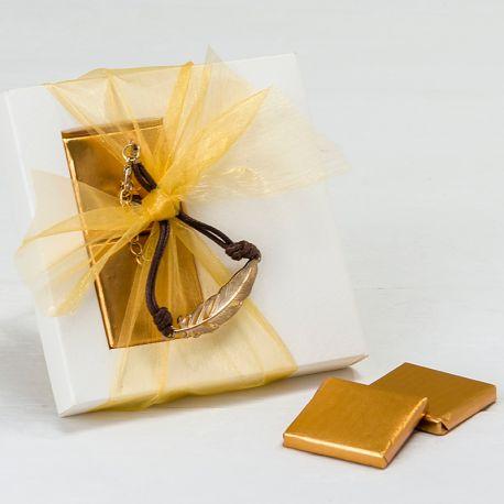 Estuche con Pulsera Pluma de Metal y 2 Chocolates
