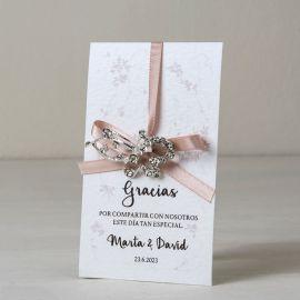Broche Mariposa Strass con Tarjeta Gracias 8 cm x 12,3 cm