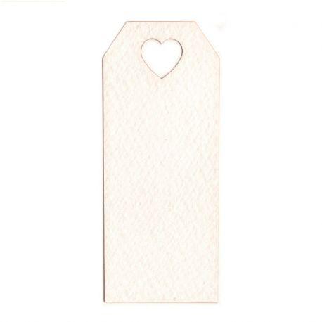 24 Tarjetas Blancas con Agujero con Corazón 3 cm x 7 cm