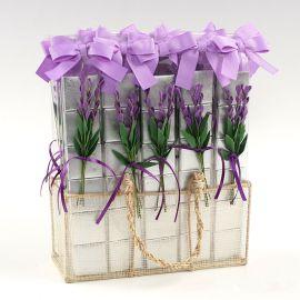 Expositor de 30 Estuches con 6 Chocolates y Flor de Lavanda