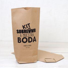 25 Bolsas Kraft Kit para Sobrevivir a Nuestra Boda 18 cm x 32 cm x 7 cm