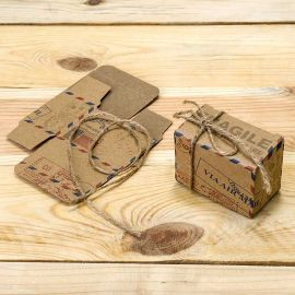 25 Cajas Air Mail con Cordón Rústico 6 cm x 4,5 cm
