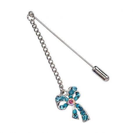 12 Alfileres Cadena y Lazo Diamantes Azul Metálico