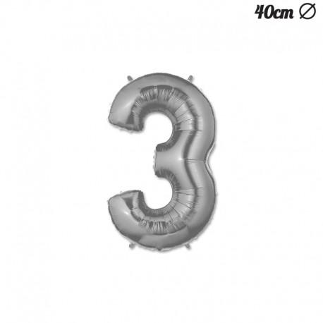 Globo Numero 3 Foil 40 cm