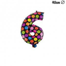 Globo Numero 6 Lunares Foil 40 cm