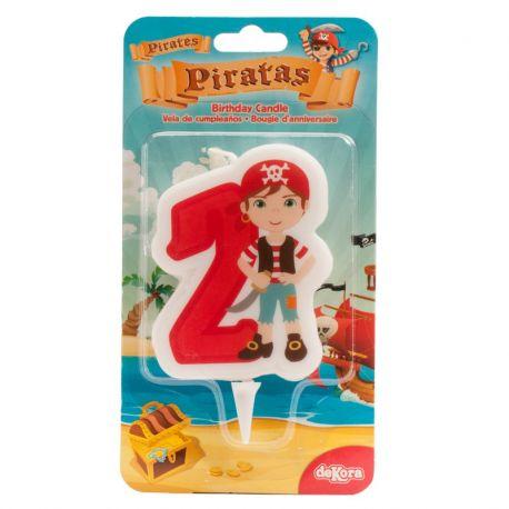 12 Velas de Piratas Nº2 de 7 cm 2D
