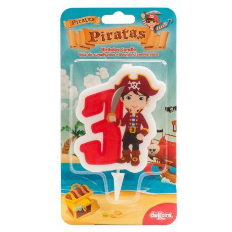 12 Velas de Piratas Nº3 de 7 cm 2D