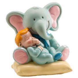 Figura de Elefante con Bebé Niño 10 cm