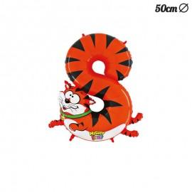 Globo Tigre Numero 8 Foil 50 cm