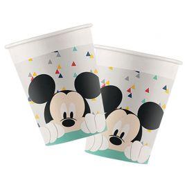 8 Vasos Mickey Awesome de Cartón 200 ml