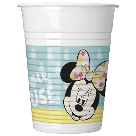 8 Vasos Minnie Tropical de Plástico 200 ml