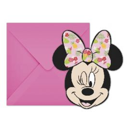 6 Invitaciones Minnie Tropical