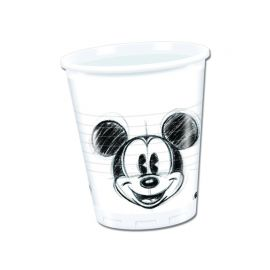 25 Vasos Mickey Faces de Plástico 200 ml