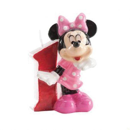 8 Velas Nº 1 Minnie Mouse 6,5 cm