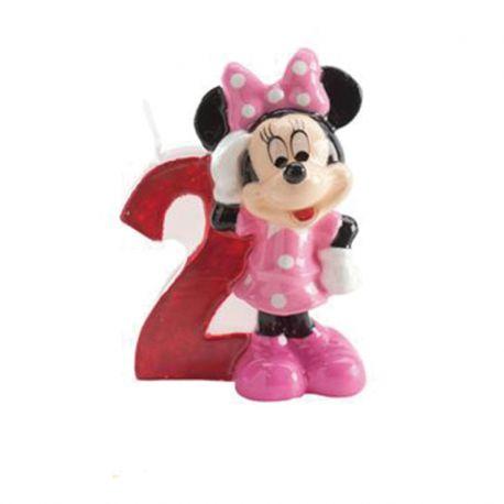 8 Velas Nº 2 Minnie Mouse 6,5 cm