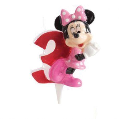 8 Velas Nº 3 Minnie Mouse 6,5 cm