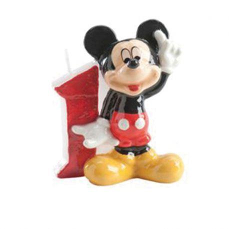 8 Velas Nº 1 Mickey Mouse 6,5 cm