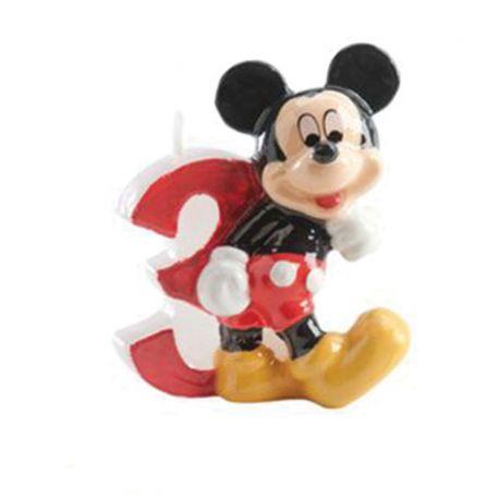 8 Velas Nº 3 Mickey Mouse 6,5 cm