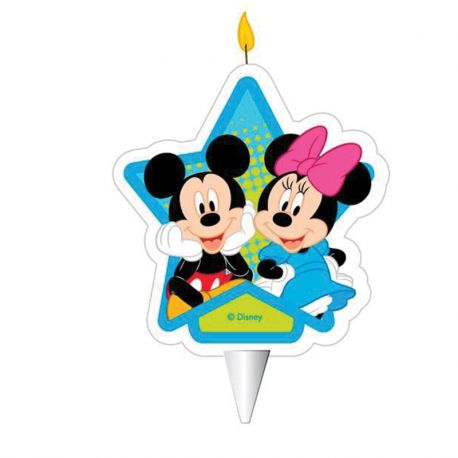 12 Velas Mickey Mouse & Minnie Mouse 2D