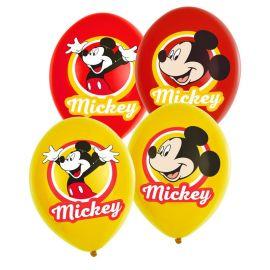 6 Globos Mickey Mouse de Látex Rojo y Amarillo