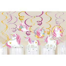 12 Decorativos Colgantes Unicornio Magico
