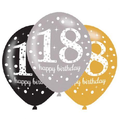 6 Globos Happy Birthday Elegant 18 Años Dorado 28 cm