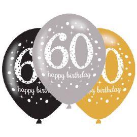 6 Globos Happy Birthday Elegant 60 Años Dorado 28 cm