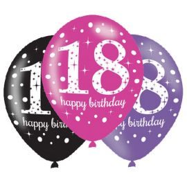 6 Globos Happy Birthday Elegant 18 Años Rosa 28 cm