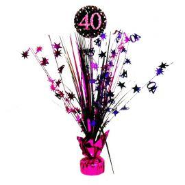 Centro de Mesa Elegant Rosa 40 Años 33 cm