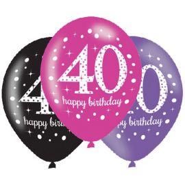 6 Globos Happy Birthday Elegant 40 Años Rosa 28 cm