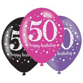 6 Globos Happy Birthday Elegant 50 Años Rosa 28 cm