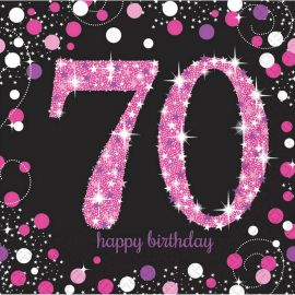 16 Servilletas 70 Años Elegant Rosa 33 cm