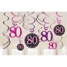 12 Colgantes 80 Años Elegant Rosa
